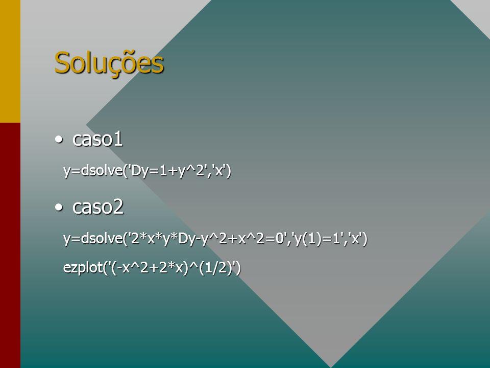 Soluções caso1 caso2 y=dsolve( Dy=1+y^2 , x )