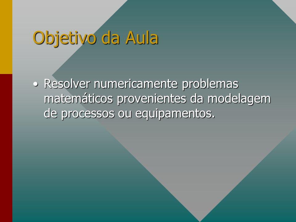 Objetivo da Aula Resolver numericamente problemas matemáticos provenientes da modelagem de processos ou equipamentos.