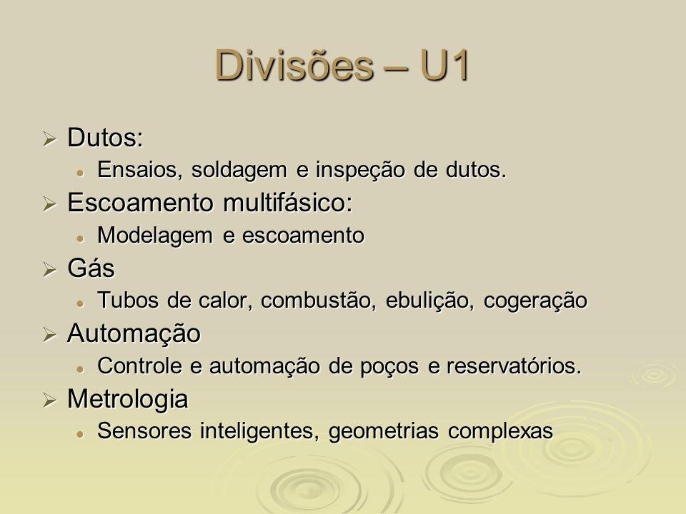 Divisões – U1 Dutos: Escoamento multifásico: Gás Automação Metrologia
