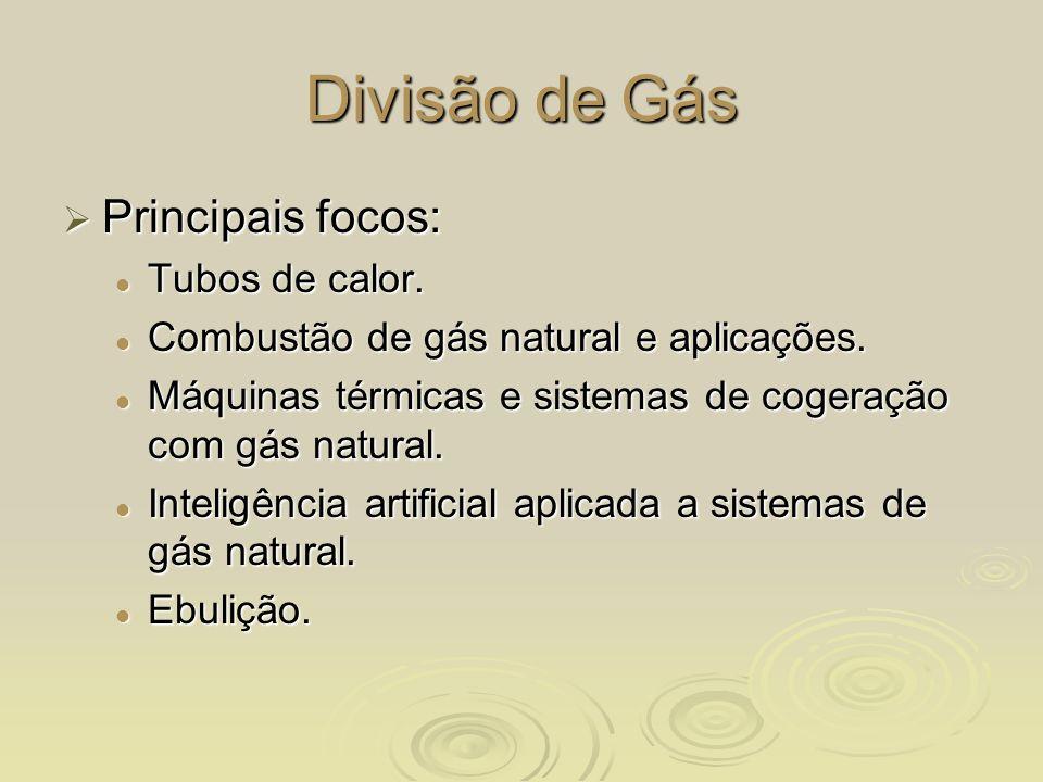 Divisão de Gás Principais focos: Tubos de calor.