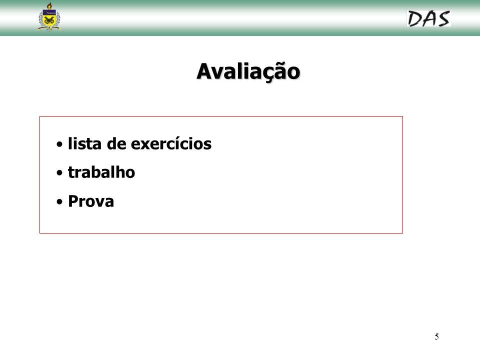 Avaliação lista de exercícios trabalho Prova