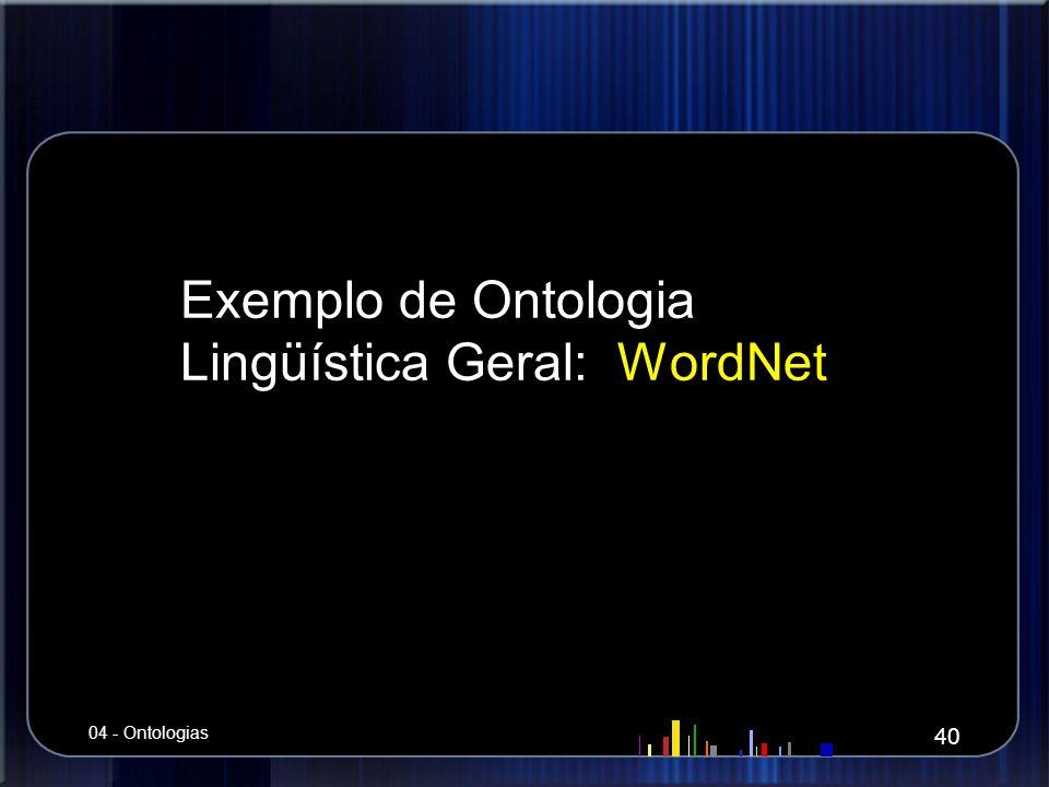 Exemplo de Ontologia Lingüística Geral: WordNet