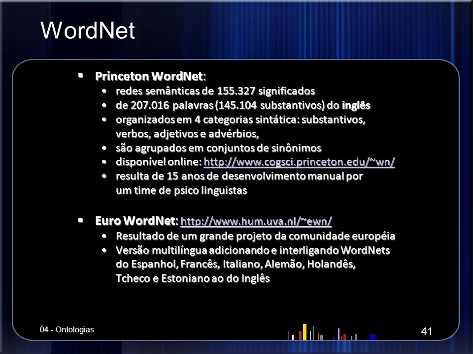 WordNet Princeton WordNet: Euro WordNet: http://www.hum.uva.nl/~ewn/
