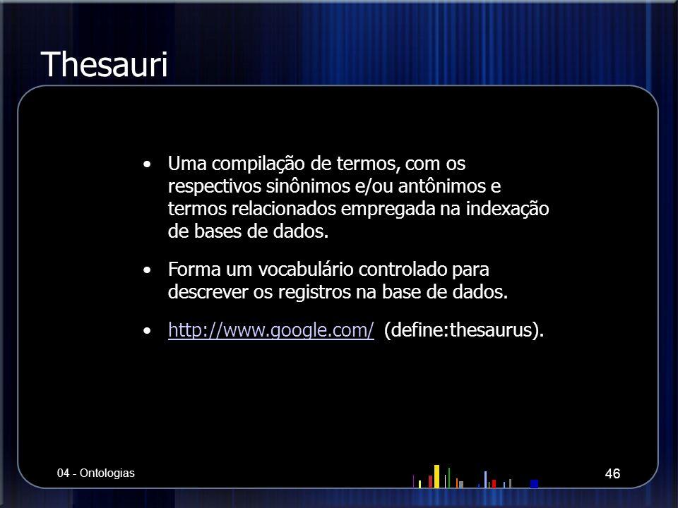 Thesauri Uma compilação de termos, com os respectivos sinônimos e/ou antônimos e termos relacionados empregada na indexação de bases de dados.