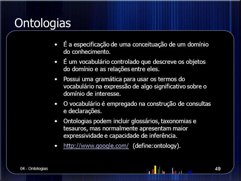 Ontologias É a especificação de uma conceituação de um domínio do conhecimento.
