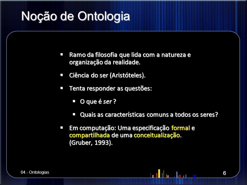 Noção de Ontologia Ramo da filosofia que lida com a natureza e organização da realidade. Ciência do ser (Aristóteles).