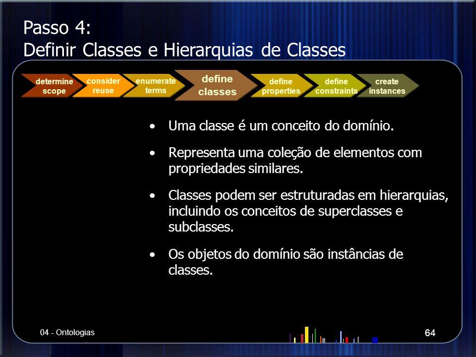 Passo 4: Definir Classes e Hierarquias de Classes