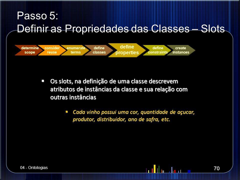 Passo 5: Definir as Propriedades das Classes – Slots