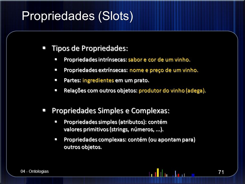 Propriedades (Slots) Tipos de Propriedades: