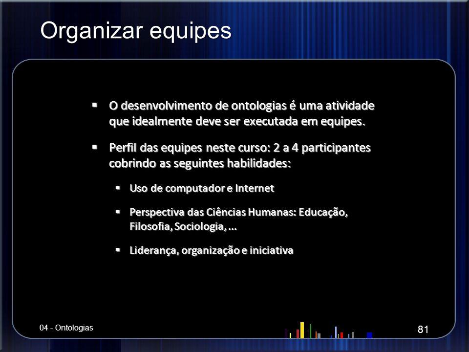 Organizar equipes O desenvolvimento de ontologias é uma atividade que idealmente deve ser executada em equipes.