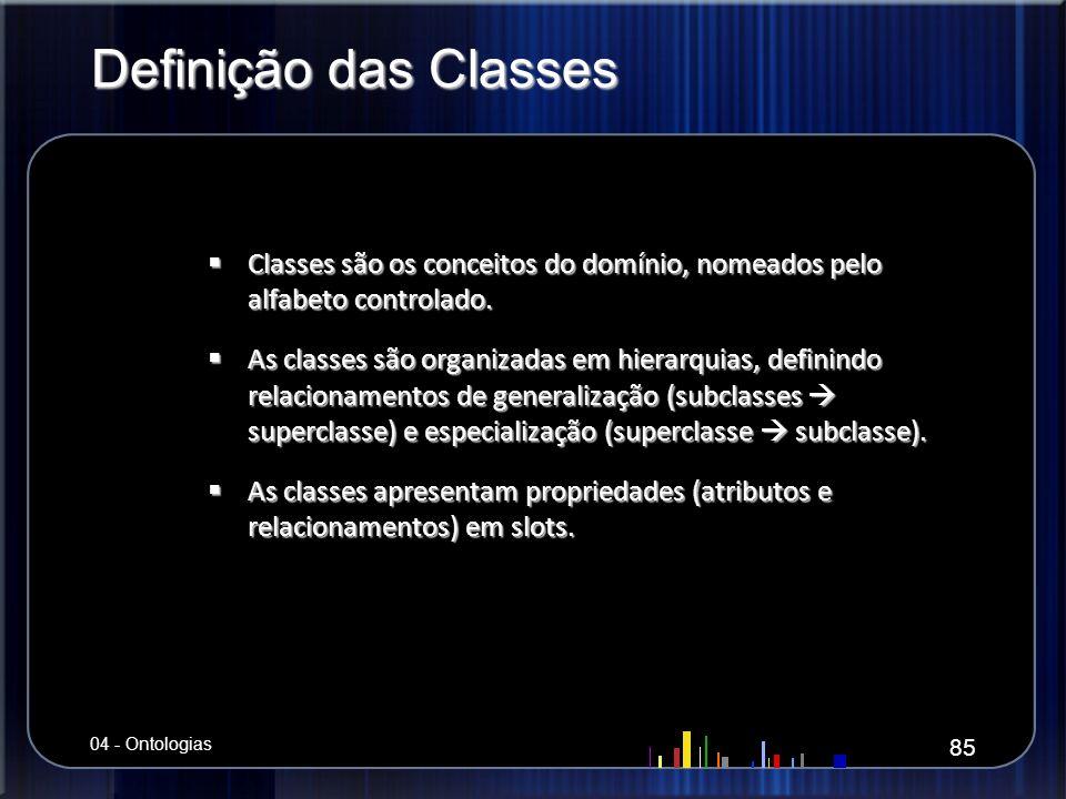 Definição das Classes Classes são os conceitos do domínio, nomeados pelo alfabeto controlado.