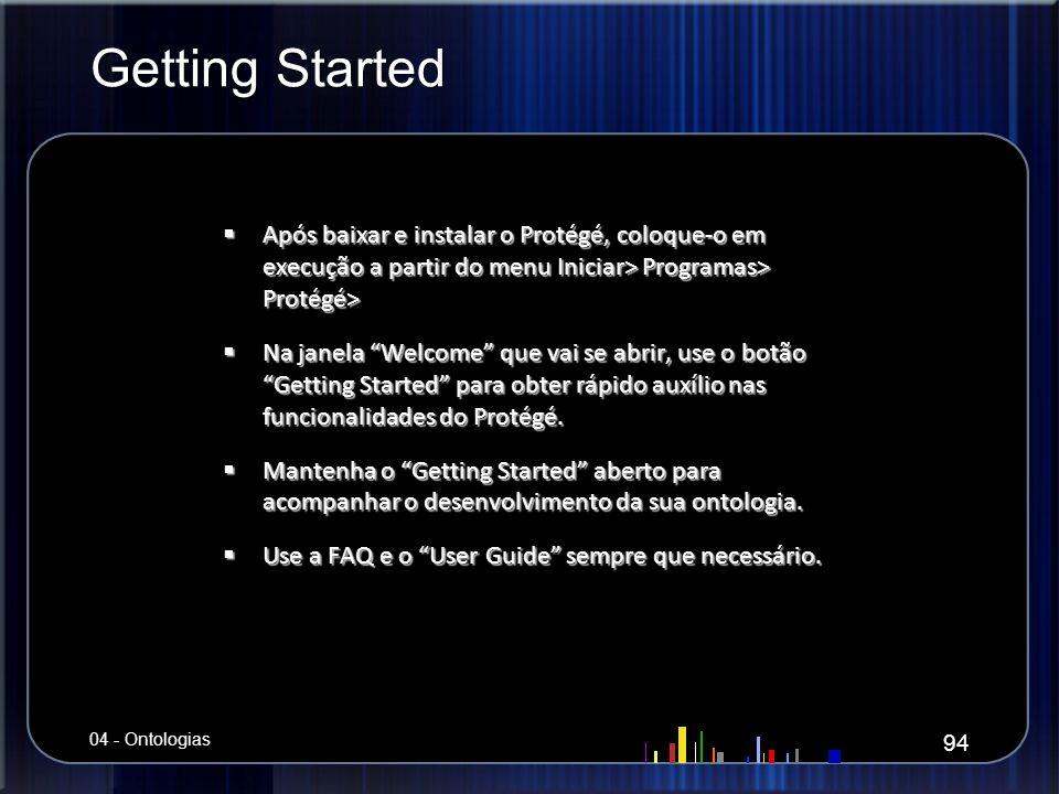 Getting Started Após baixar e instalar o Protégé, coloque-o em execução a partir do menu Iniciar> Programas> Protégé>