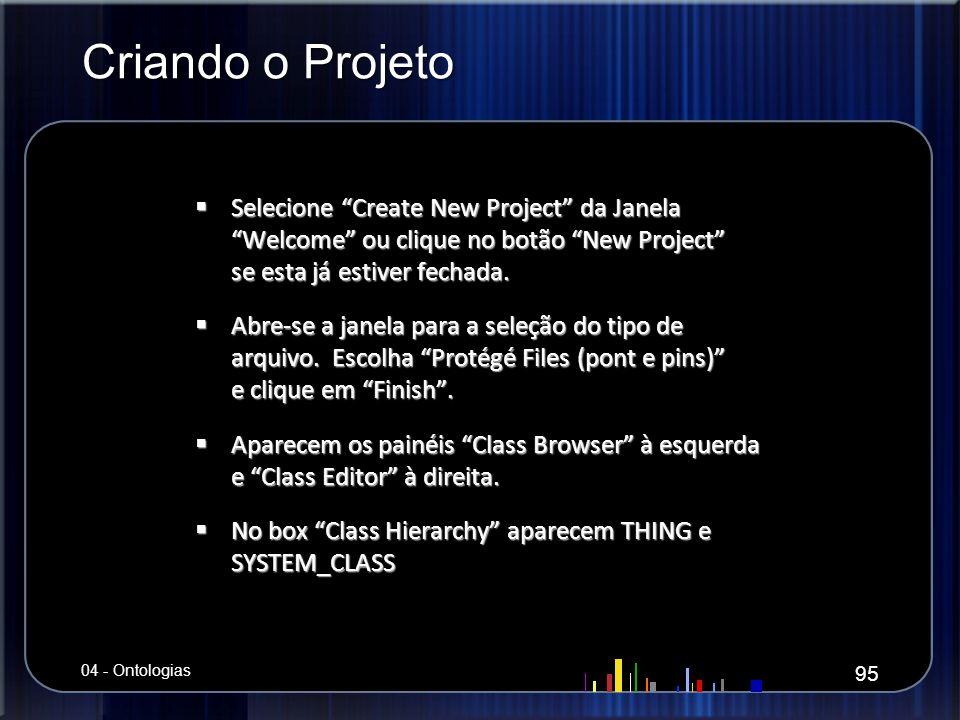 Criando o Projeto Selecione Create New Project da Janela Welcome ou clique no botão New Project se esta já estiver fechada.