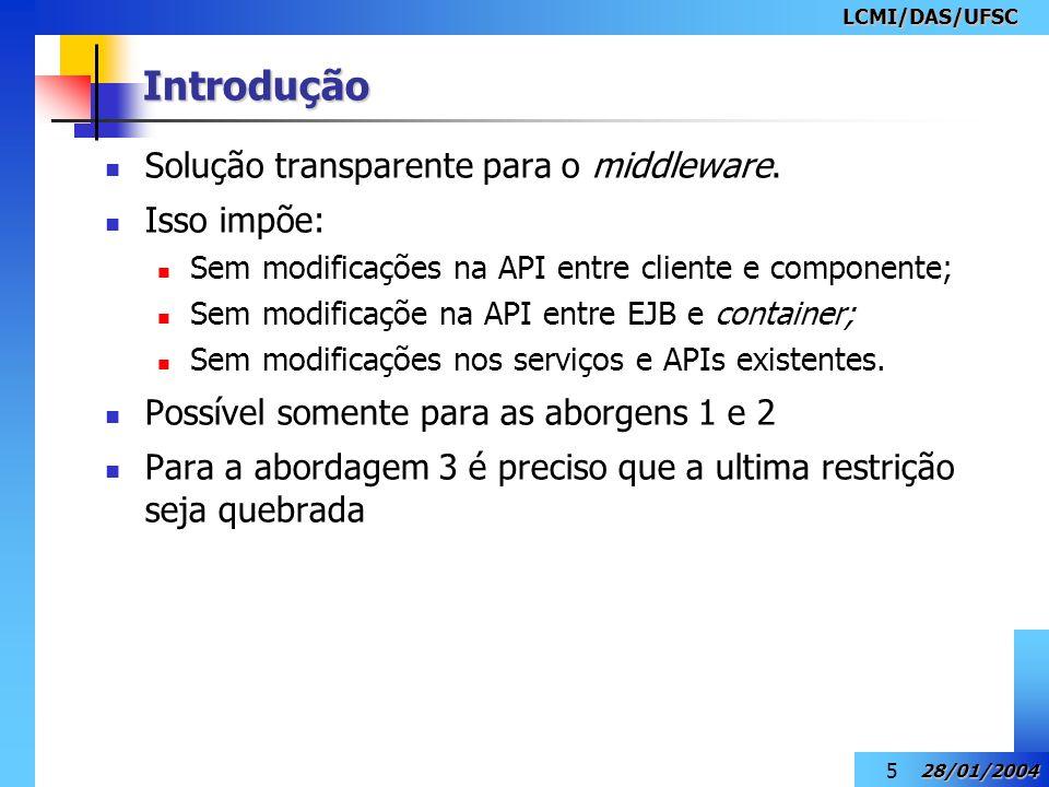 Introdução Solução transparente para o middleware. Isso impõe: