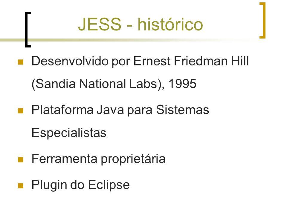 JESS - históricoDesenvolvido por Ernest Friedman Hill (Sandia National Labs), 1995. Plataforma Java para Sistemas Especialistas.
