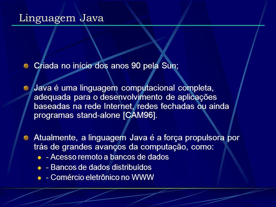 Linguagem Java Criada no início dos anos 90 pela Sun;