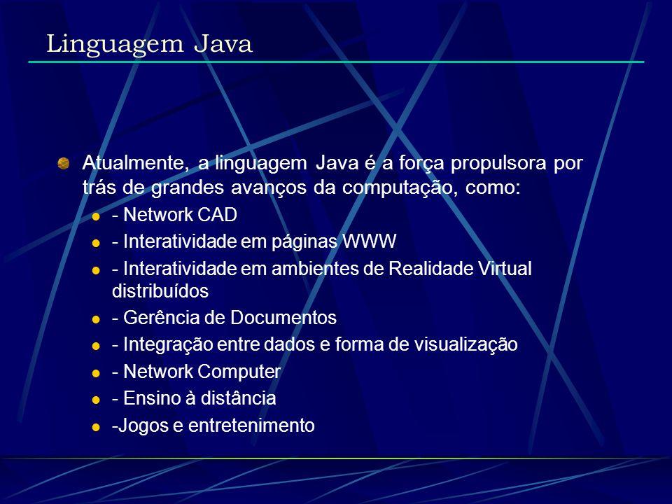 Linguagem Java Atualmente, a linguagem Java é a força propulsora por trás de grandes avanços da computação, como: