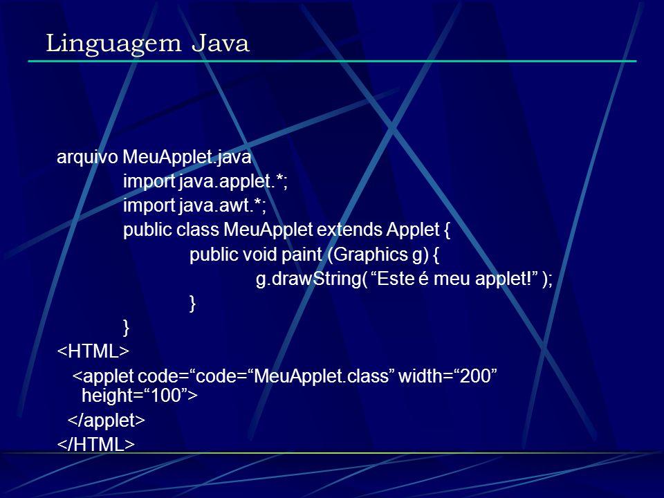 Linguagem Java arquivo MeuApplet.java import java.applet.*;