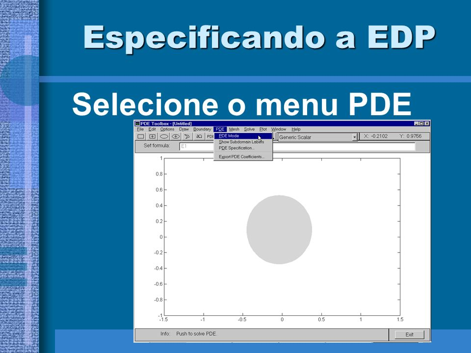 Especificando a EDP Selecione o menu PDE