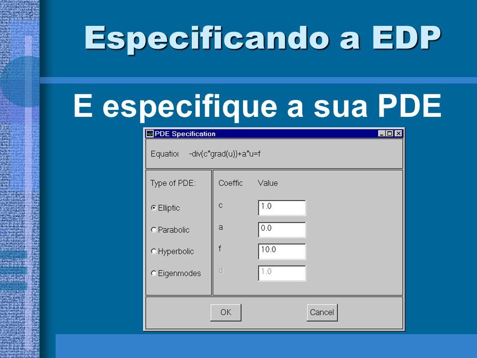 Especificando a EDP E especifique a sua PDE