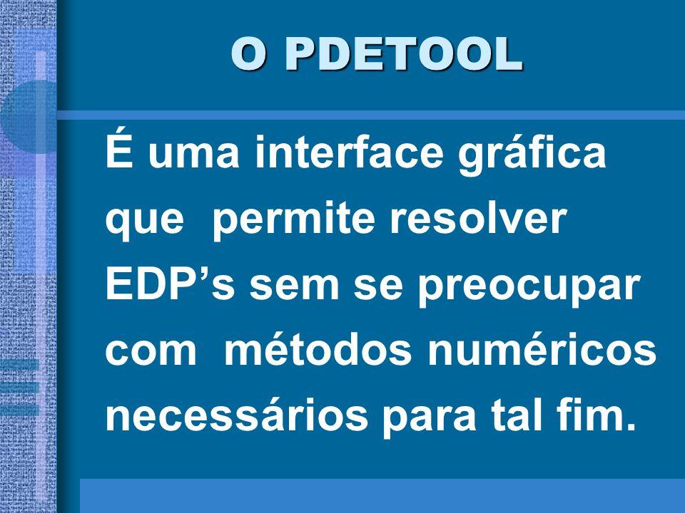 O PDETOOL É uma interface gráfica. que permite resolver. EDP's sem se preocupar. com métodos numéricos.