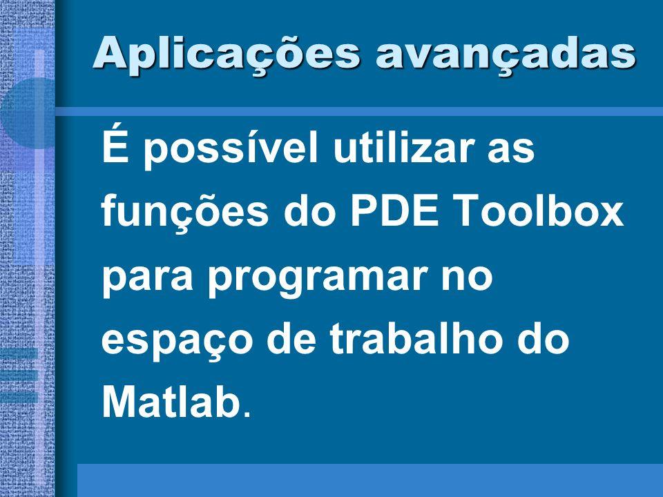 Aplicações avançadasÉ possível utilizar as. funções do PDE Toolbox. para programar no. espaço de trabalho do.