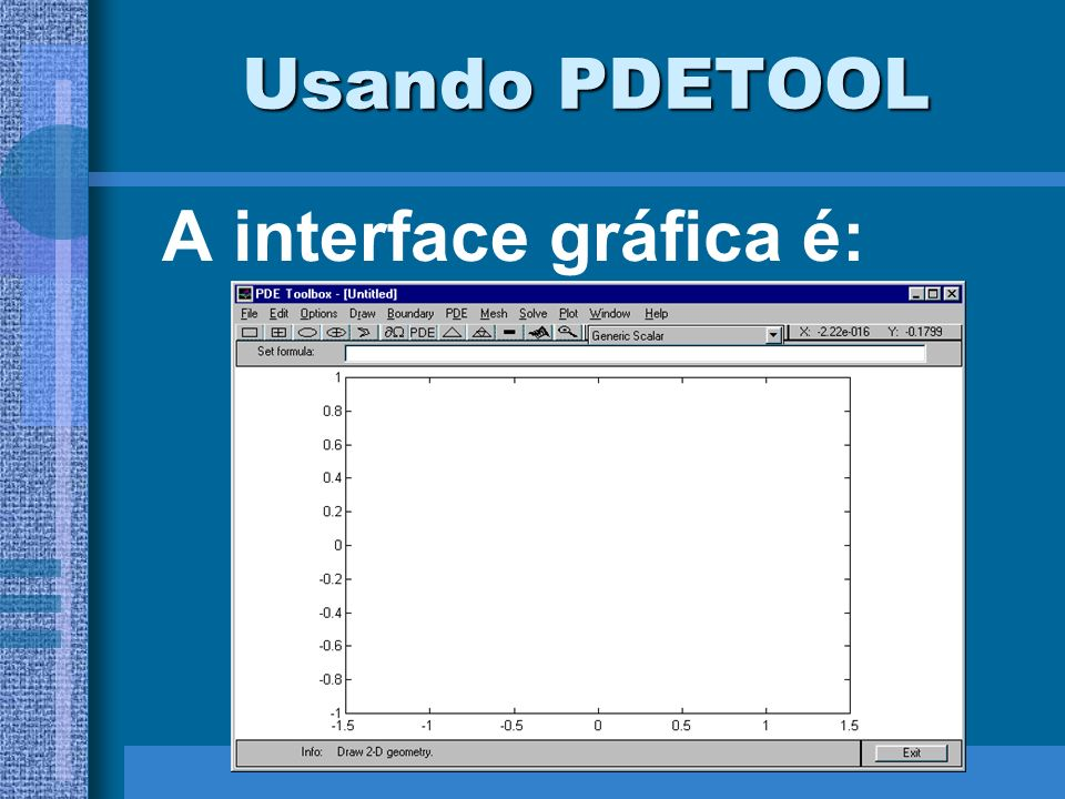 Usando PDETOOL A interface gráfica é:
