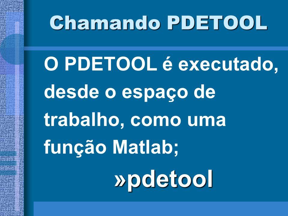 »pdetool Chamando PDETOOL O PDETOOL é executado, desde o espaço de