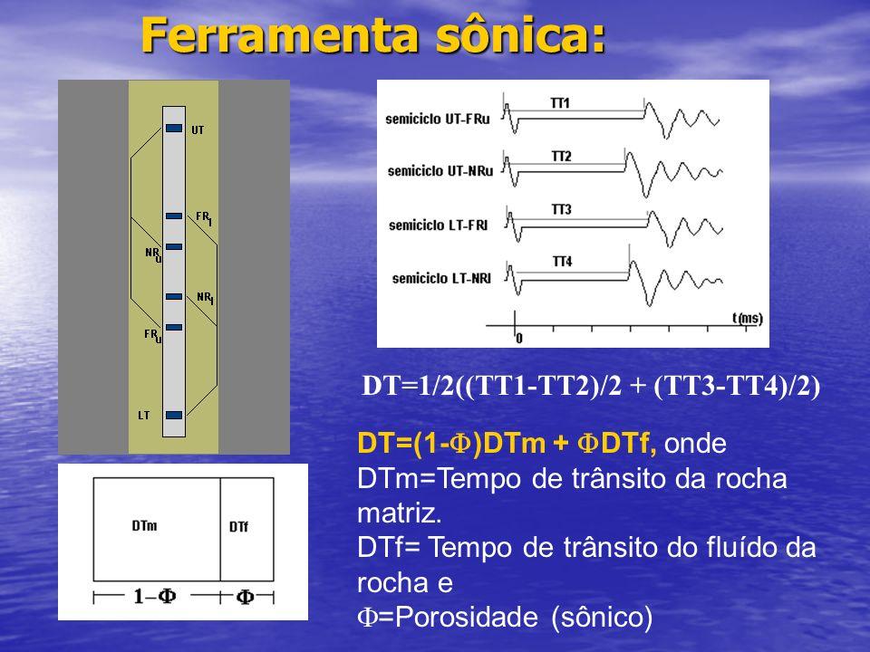 Ferramenta sônica: DT=1/2((TT1-TT2)/2 + (TT3-TT4)/2)