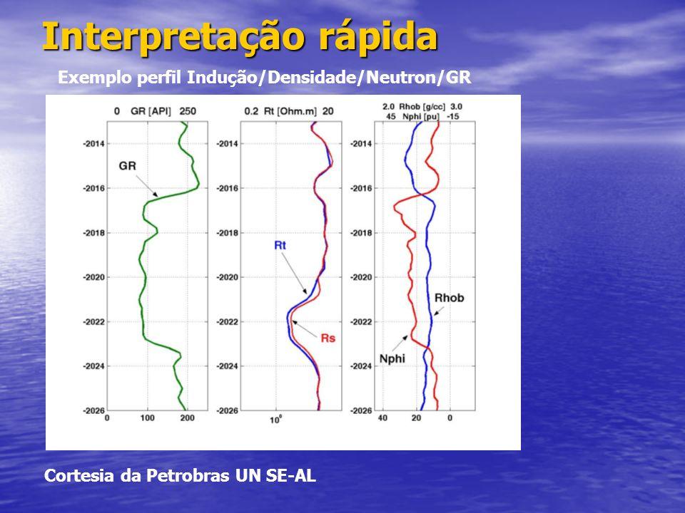 Interpretação rápida Exemplo perfil Indução/Densidade/Neutron/GR