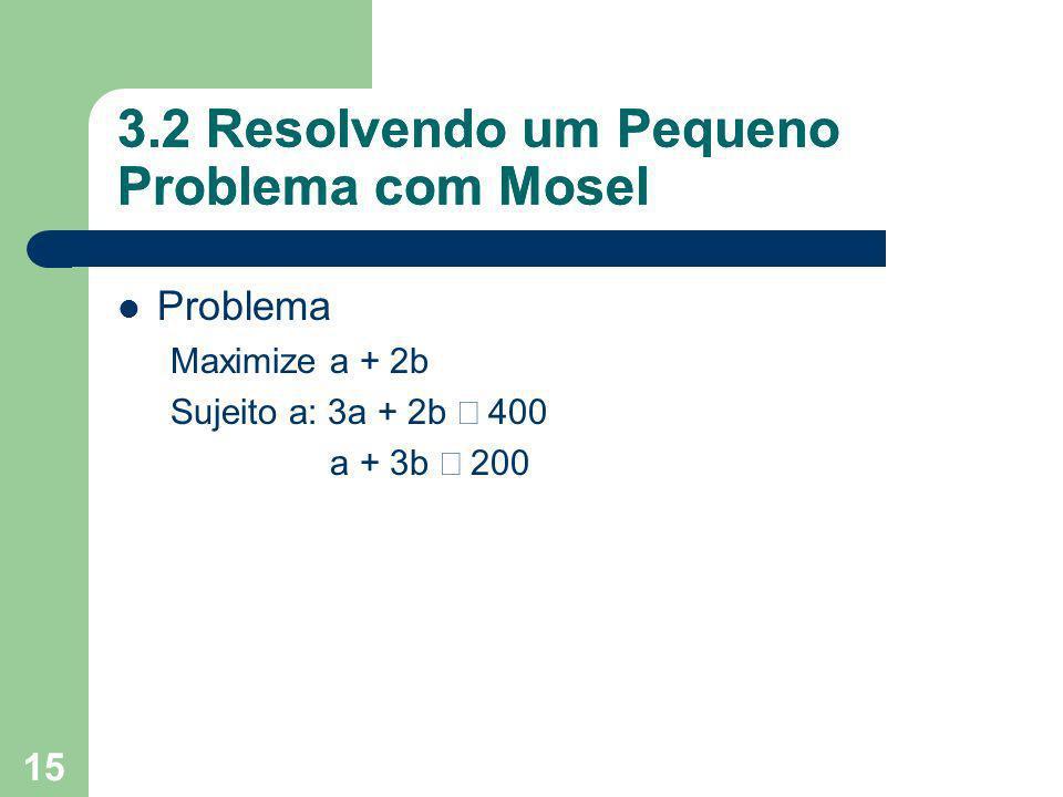3.2 Resolvendo um Pequeno Problema com Mosel