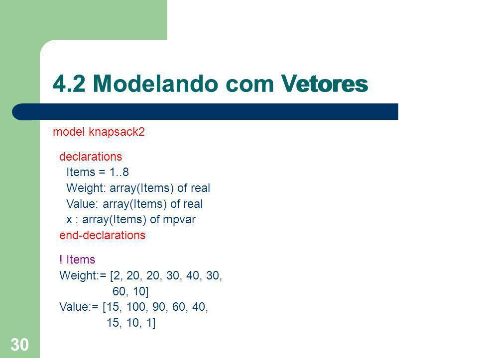 4.2 Modelando com Vetores 4.2 Modelando com Vetores model knapsack2