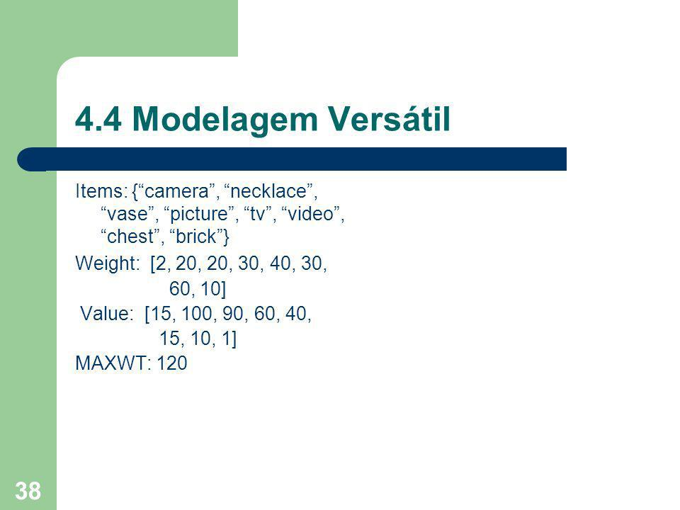 4.4 Modelagem Versátil Items: { camera , necklace , vase , picture , tv , video , chest , brick }