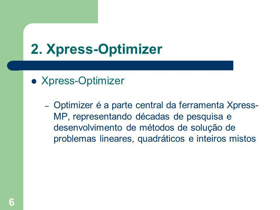 2. Xpress-Optimizer Xpress-Optimizer