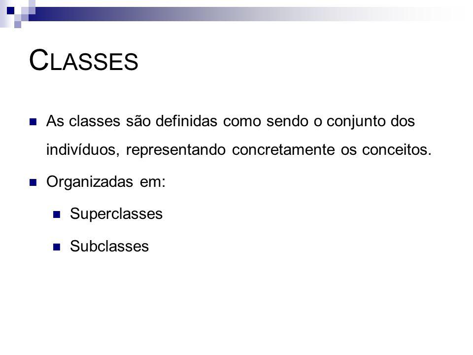 ClassesAs classes são definidas como sendo o conjunto dos indivíduos, representando concretamente os conceitos.