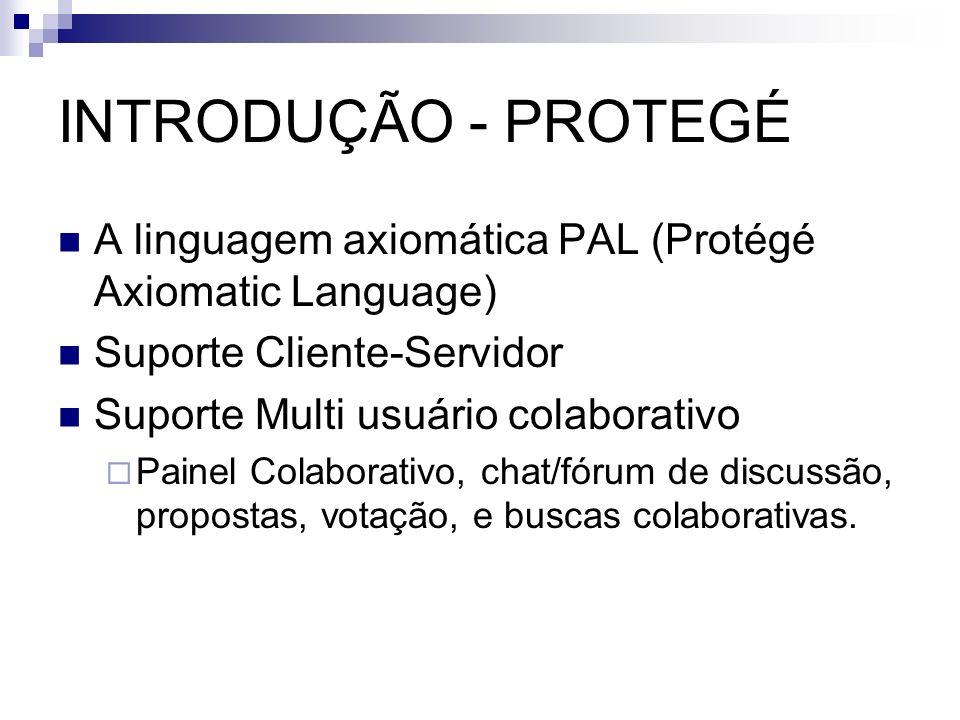 INTRODUÇÃO - PROTEGÉA linguagem axiomática PAL (Protégé Axiomatic Language) Suporte Cliente-Servidor.