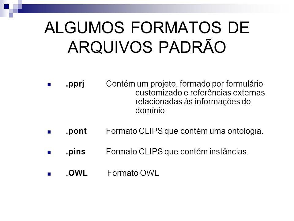 ALGUMOS FORMATOS DE ARQUIVOS PADRÃO