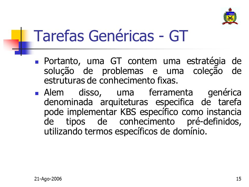Tarefas Genéricas - GT Portanto, uma GT contem uma estratégia de solução de problemas e uma coleção de estruturas de conhecimento fixas.
