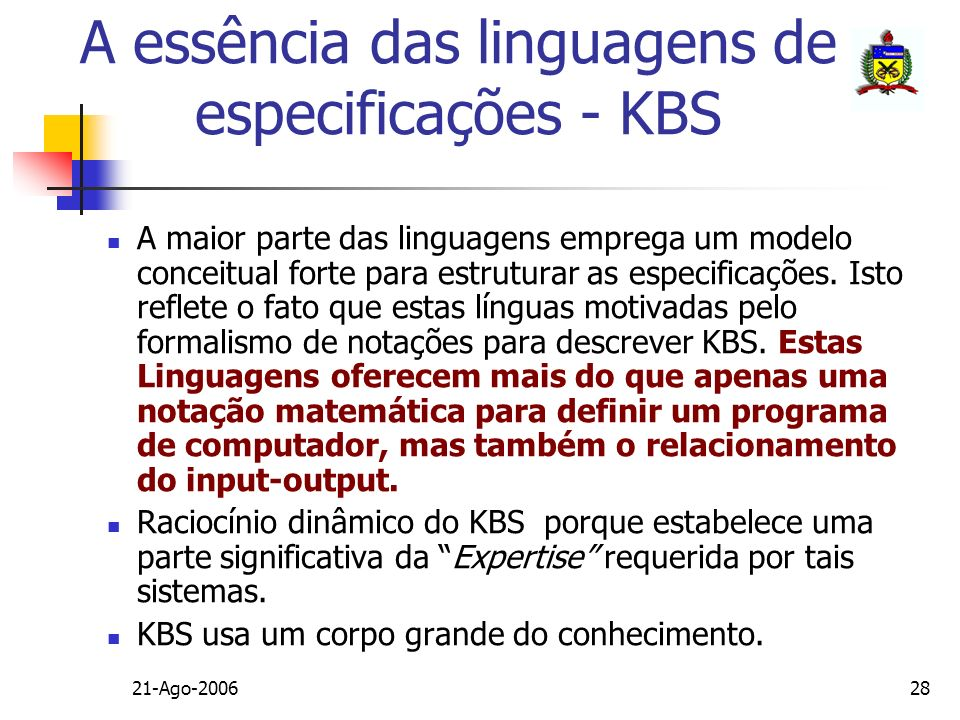 A essência das linguagens de especificações - KBS