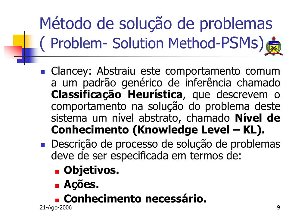 Método de solução de problemas ( Problem- Solution Method-PSMs)