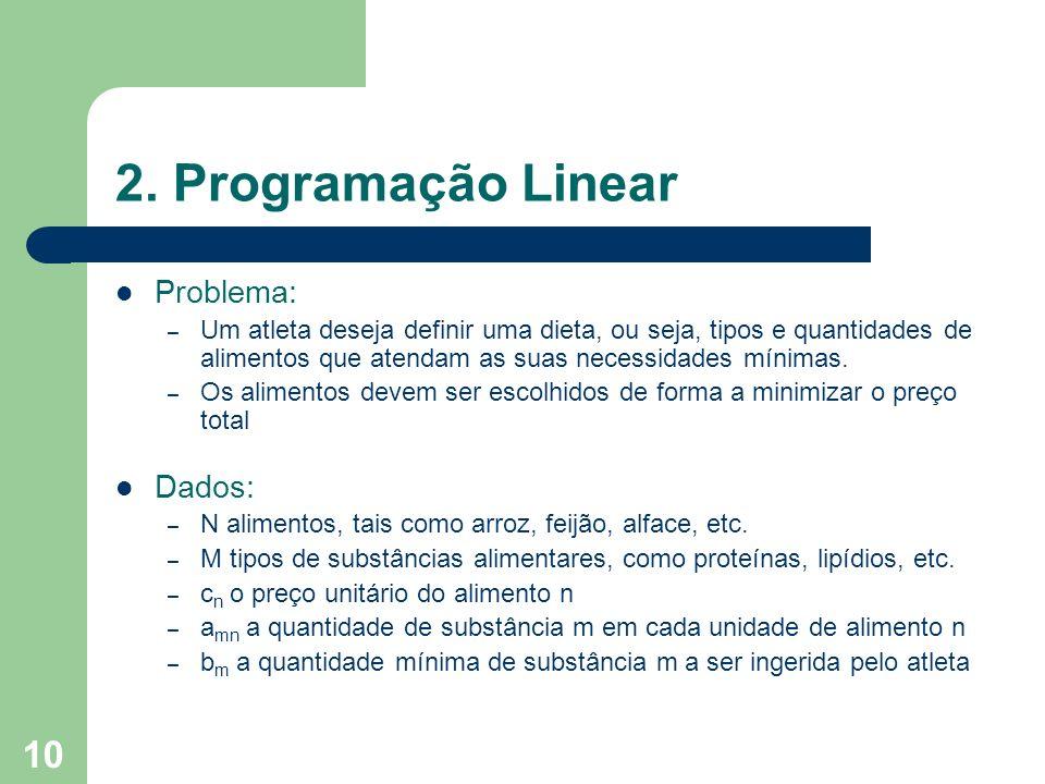 2. Programação Linear Problema: Dados: