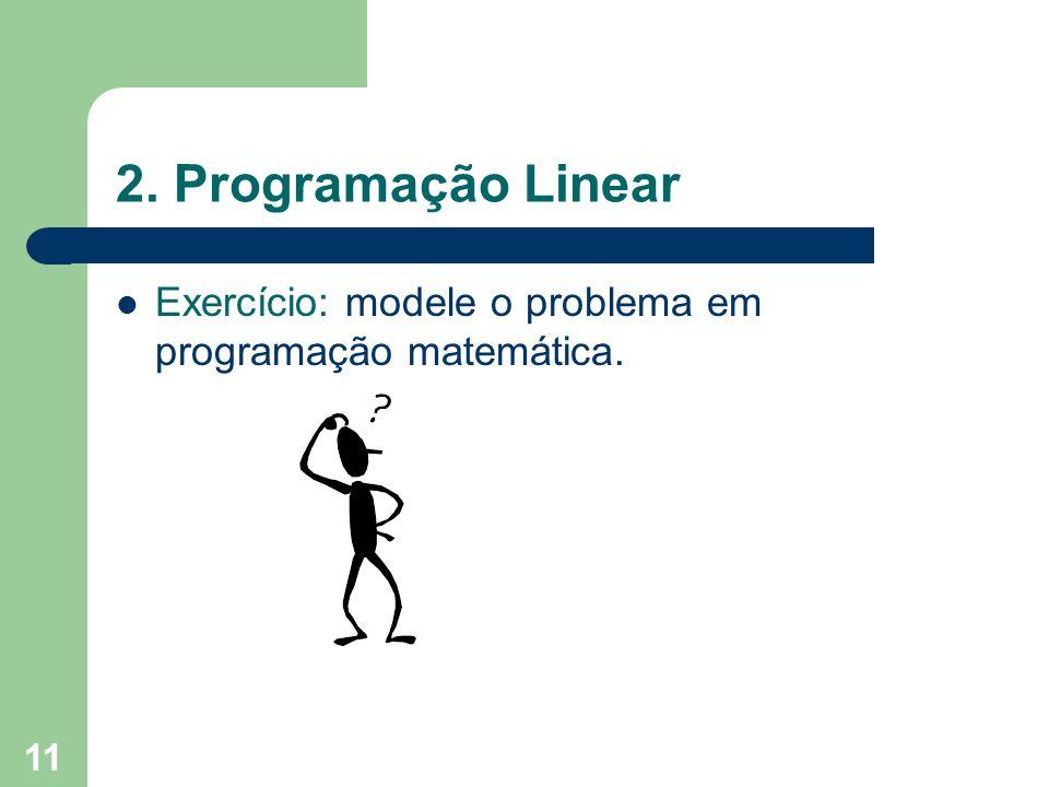 2. Programação Linear Exercício: modele o problema em programação matemática.