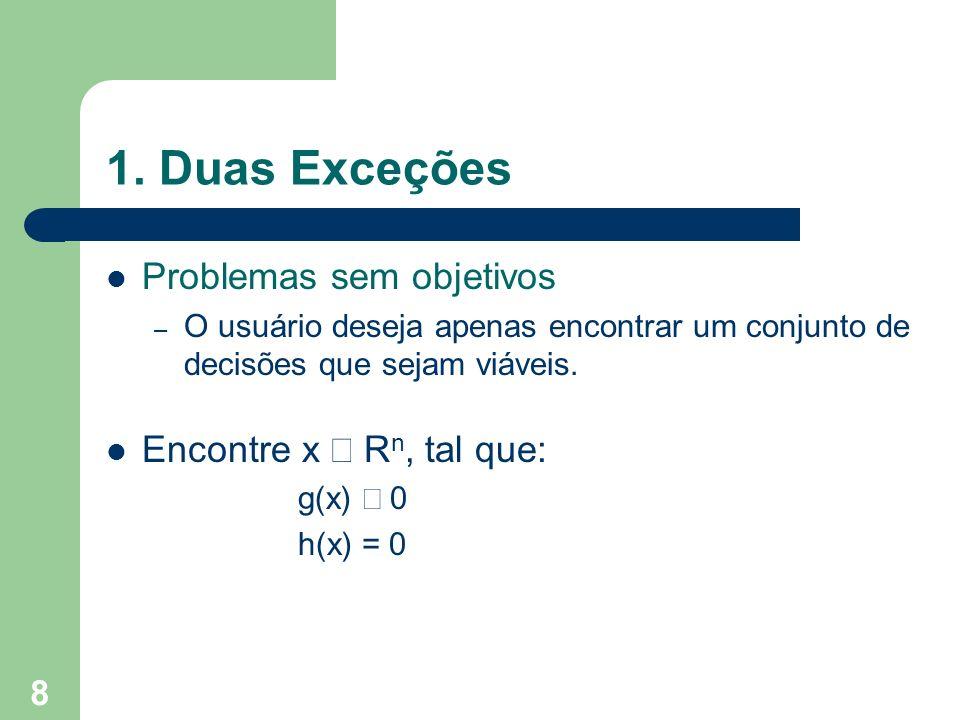 1. Duas Exceções Problemas sem objetivos Encontre x Î Rn, tal que: