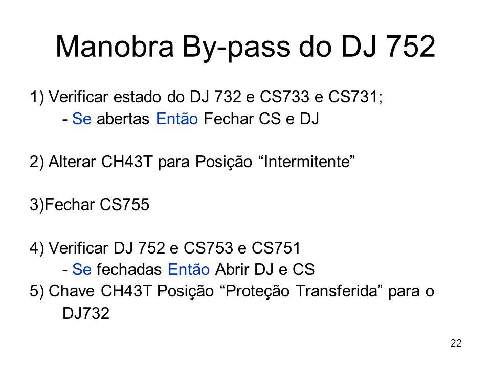Manobra By-pass do DJ 752 1) Verificar estado do DJ 732 e CS733 e CS731; - Se abertas Então Fechar CS e DJ.