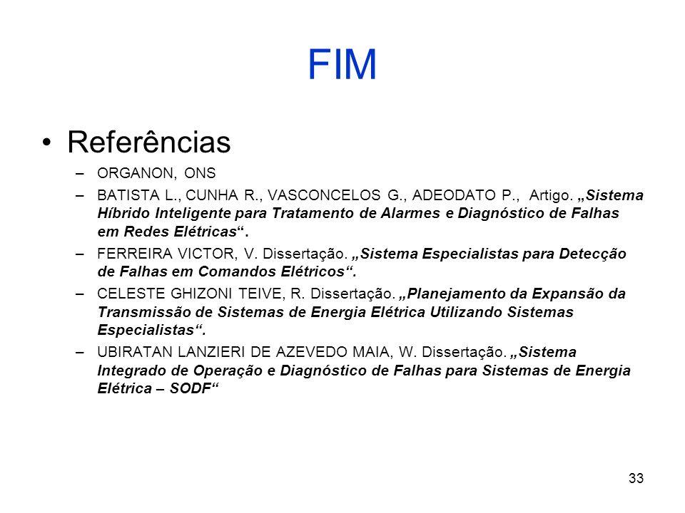 FIM Referências ORGANON, ONS