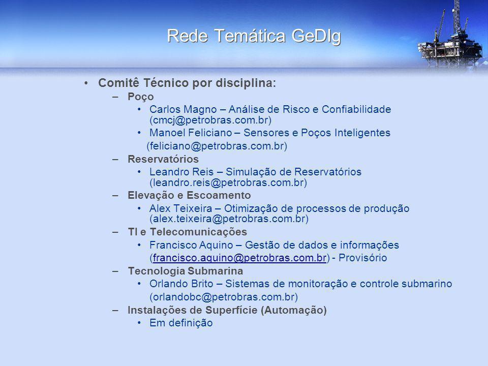 Rede Temática GeDIg Comitê Técnico por disciplina: Poço