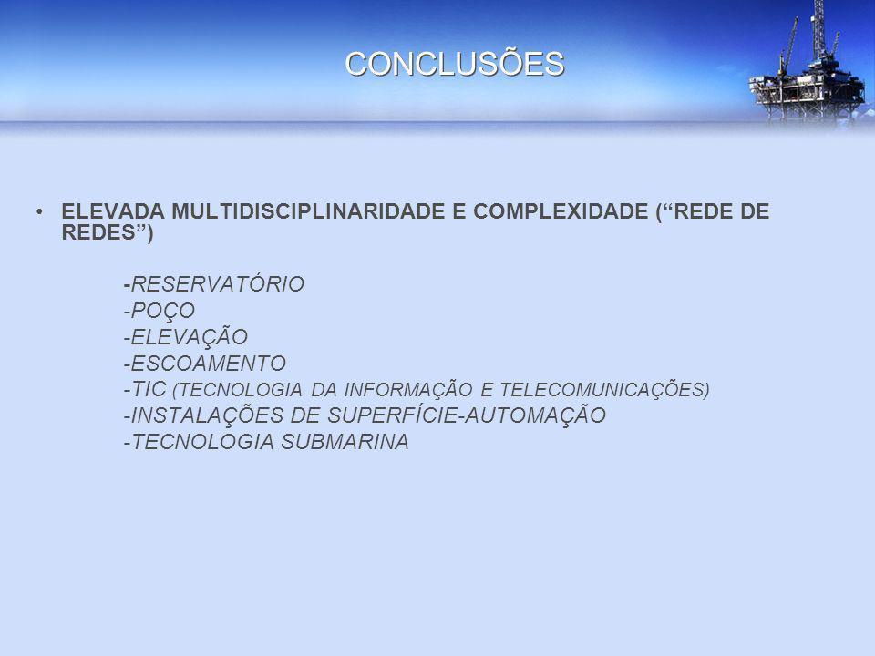 CONCLUSÕES ELEVADA MULTIDISCIPLINARIDADE E COMPLEXIDADE ( REDE DE REDES ) -RESERVATÓRIO. -POÇO. -ELEVAÇÃO.
