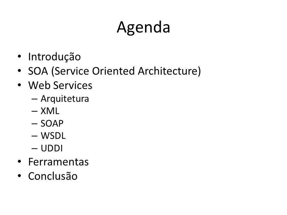 Agenda Introdução SOA (Service Oriented Architecture) Web Services