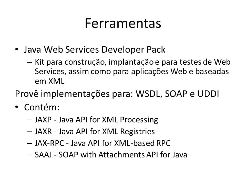 Ferramentas Java Web Services Developer Pack