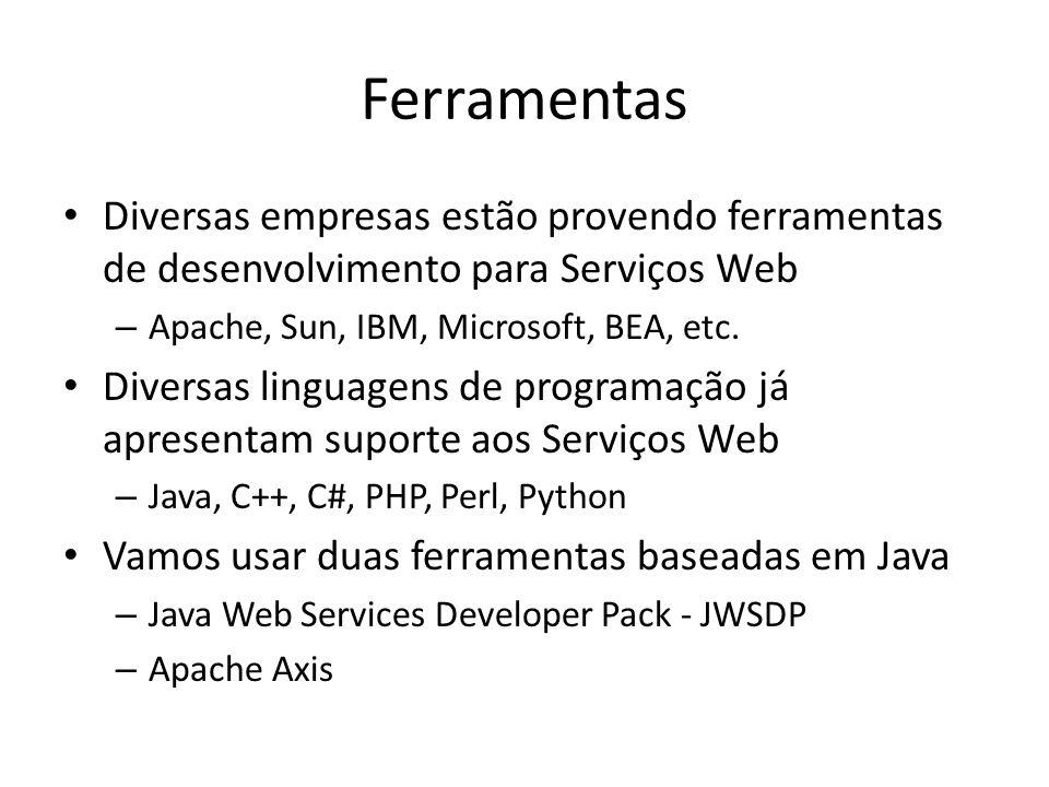 Ferramentas Diversas empresas estão provendo ferramentas de desenvolvimento para Serviços Web. Apache, Sun, IBM, Microsoft, BEA, etc.